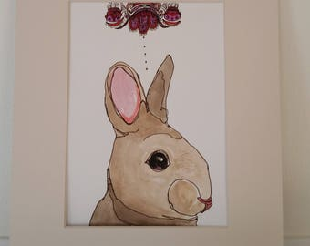 Original mixed media drawing of rabbit