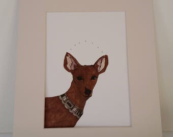 Original mixed media drawing of deer