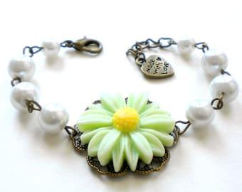 Daisy Jewelry Flower Girl Bracelet Sunflower Jewelry Daisy Wedding Jewelry For Flower Girl Flower Girl Gift Children Bracelet Green Bracelet