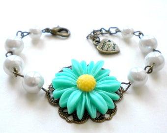 Sunflower Flower Girl Jewelry Daisy Bracelet Mint Flower Bracelet Sunflower Bracelet Children Birthday Gift Sunflower Wedding Jewelry