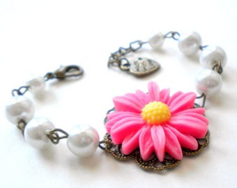 Sunflower Jewelry Fuschia Bracelet Flower Girl Gift Pearl Wedding Jewelry Daisy Flower Girl Bracelet Sunflower Bracelet Children Jewelry