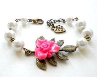 Flower Girl Bracelet Leaf Bracelet Will You Be My Flower Girl Gift Pink Bracelet Children Wedding Jewelry Little Girl Bracelet