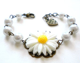 Sunflower Jewelry Sunflower Bracelet Summer Wedding Jewelry Flower Girl Bracelet Junior Bridesmaid Gift Daisy Bracelet Daisy Jewelry