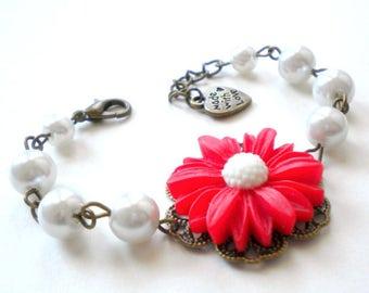 Daisy Bracelet Sunflower Jewelry Flower Girl Bracelet Red Bracelet Flower Girl Gift Children Wedding Jewelry Junior Bridesmaid Gift