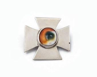 Antique Victorian Sterling Silver Operculum Collar Button;  Silver Operculum Button Pin; Evil Eye