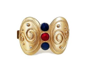 b947bb1f07e Monet Gold Enamel Wide Bangle Bracelet, Blue Red Enamel, YSL, Christian  Lacroix, Vintage 1980s 1990s, Designer Jewelry, Runway Couture