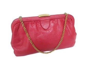 Vintage Ingber Red Leather Handbag - Vintage Clutch, Vintage Handbag, Ingber USA, Gold Chain, Leather Purse, Mid Century, Womens Purse