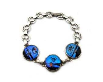Butterfly Wing Silver Tone Bracelet, Blue Morpho, Iridescent Glass, Vintage 1960s