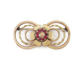 Victorian Revival 12K Gold Filled Red Rhinestone Brooch, LS CO, Louis Stern Company, Vintage 1940s 1950s