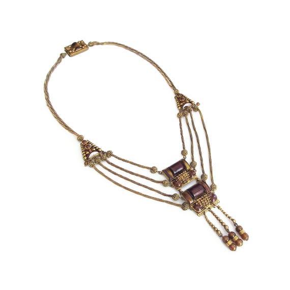 Art Deco Czech Glass Festoon Necklace, Brown Glass