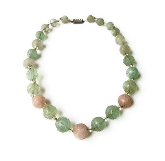 Chinese Export Jade Shou Symbol Bead Necklace Green Jade Etsy