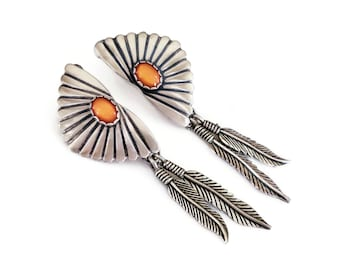 Sterling Silver Conch Feather Amber Dangle Earrings, Wheeler Manufacturing Co, Native American Style, Southwestern Jewelry, Boho Earrings