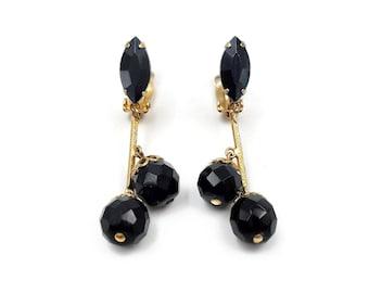 Faceted Jet Black Glass Bead Rhinestone Dangle Earrings, Lewis Segal, Gold Tone, Victorian Revival, Vintage 1950s 1960s