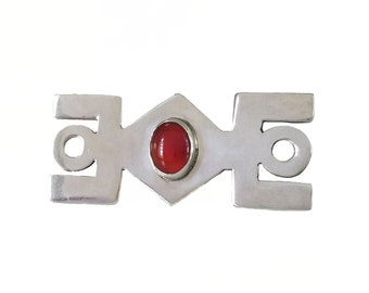 Mexican Sterling Carnelian Modernist Brooch, Abstract, Geometric, Mexico 925, Vintage 1970's 1980s