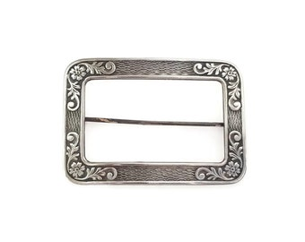 Victorian Sterling Silver Rectangle Frame Brooch, Sash Pin, Embossed Flowers, Forget Me Not, Vintage 1800s 1900s
