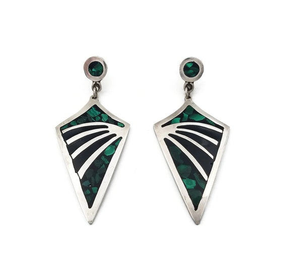 Taxco Mexico Sterling Malachite Inlay and Black Gl