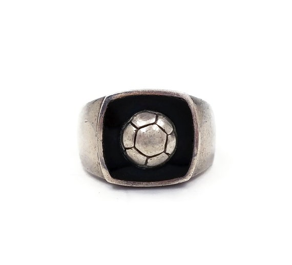 Sterling Onyx Signet Soccer Ball Ring, Sports Ring