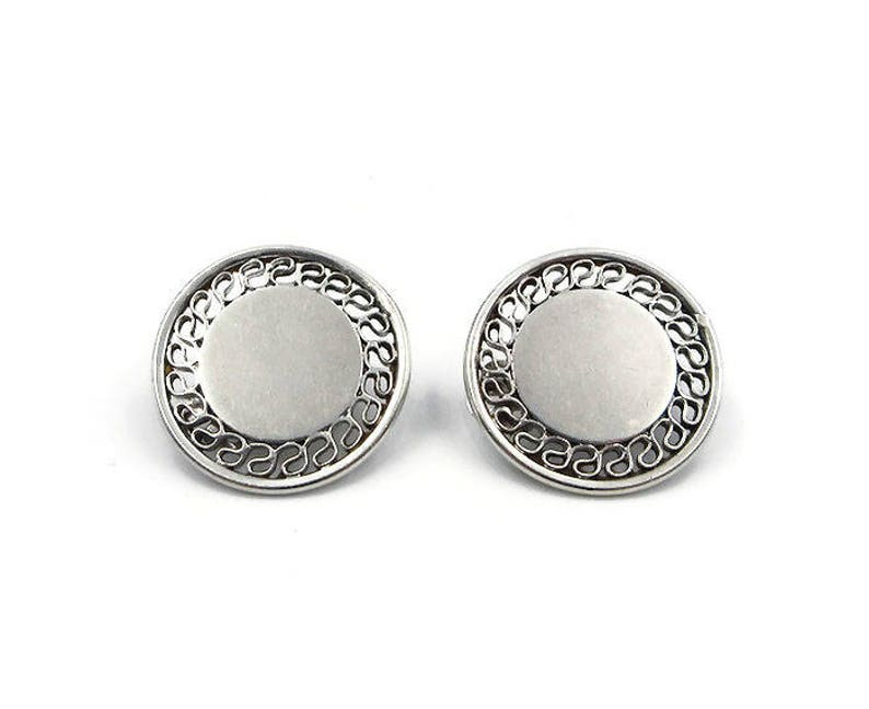 Large Studs B.A Sterling Silver Round Filigree Earrings Ballou Modernist Vintage 1950s 1960s