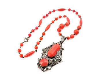 Art Deco Czech Glass Pendant Necklace, Egyptian Revival, Marked Czechoslov, Orange Beads, Silver Tone, Embossed, Vintage 1920s 1930s