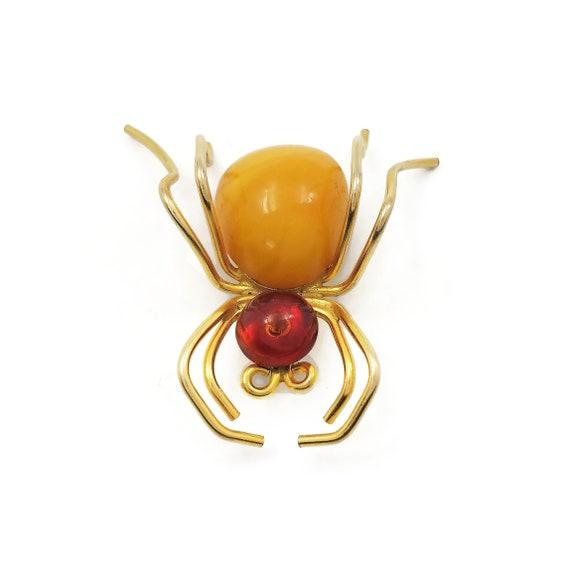 Vintage 12K Gold Filled Amber Spider Brooch, Insec