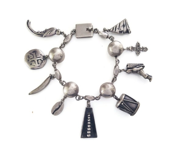 Vintage Sterling Silver Mexican Charm Bracelet, He