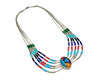 Vintage Southwestern Liquid Silver Glass Bead Necklace, Sterling 925, Native American Style, Choker Necklace, Vintage 1970's 1980s