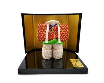 Tatsumura Textile Co Brocade Doll Sample, Japanese Doll Stand, Stand and Screen, Kyoto Japan, Silk Brocade, Kimono Fabric, Vintage Textiles