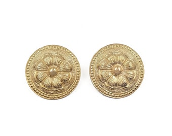 Marcella Saltz for Trifari Gold Plated Large Round Earrings, Byzantine Design, Floral, Designer Jewelry, Vintage 1980s 1990s