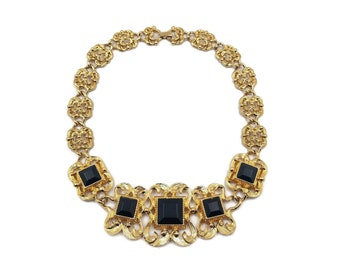 Marcella Saltz Trifari Gold Plated Faux Onyx Statement Necklace, Vintage 1980s 1990s, Big Bold Jewelry, Necklaces for Women