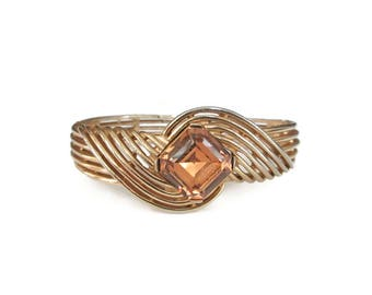 Trifari Topaz Glass Gold Bangle Bracelet - Mid Century Jewelry, Modernist Bangle, Vintage Bangle, Vintage Bracelet