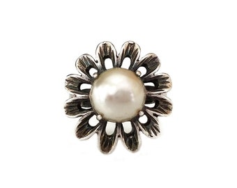 Sterling Silver Large Faux Pearl Ring, Flower Ring, Statement Ring, Cocktail Ring, Rings Size 6.75