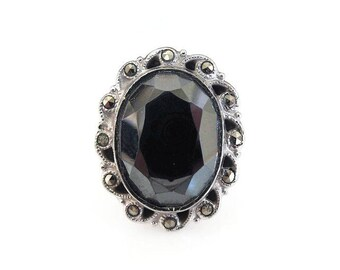 Sterling Hematite Marcasite Ring, Clark and Coombs, Art Deco Style, Vintage 1950s 1960s, Rings Size 5.25