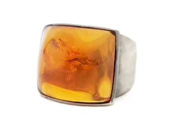 950 Silver Fossilized Amber Chunky Ring, M Peres, Brazil Designer, Sterling Silver, Modernist Jewerly, Statement Ring, Rings Size 8.75