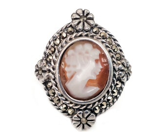 Sterling Silver Marcasite Cameo Ring, Victorian Style, Old Fashioned, Woman Profile, 925 Silver, Rings Size 6.75, Statement Ring