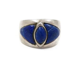 Sterling Silver Lapis Lazuli Modernist Ring, Geometric Design, 950 Silver, Boho Jewelry, Blue Stone, Rings Size 7.25