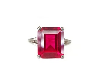 Sterling Silver Ruby Gemstone Ring, Split Shank Band, High Profile Setting, Cocktail Ring, Statement Ring, Rings Size 7