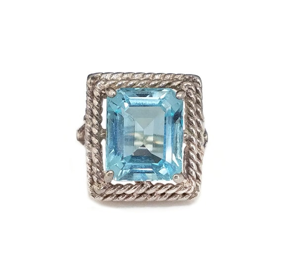 Rings for Women Rope Twist Design Vintage Sterling Silver Blue Topaz Ring High Profile Setting Rings Size 6.75
