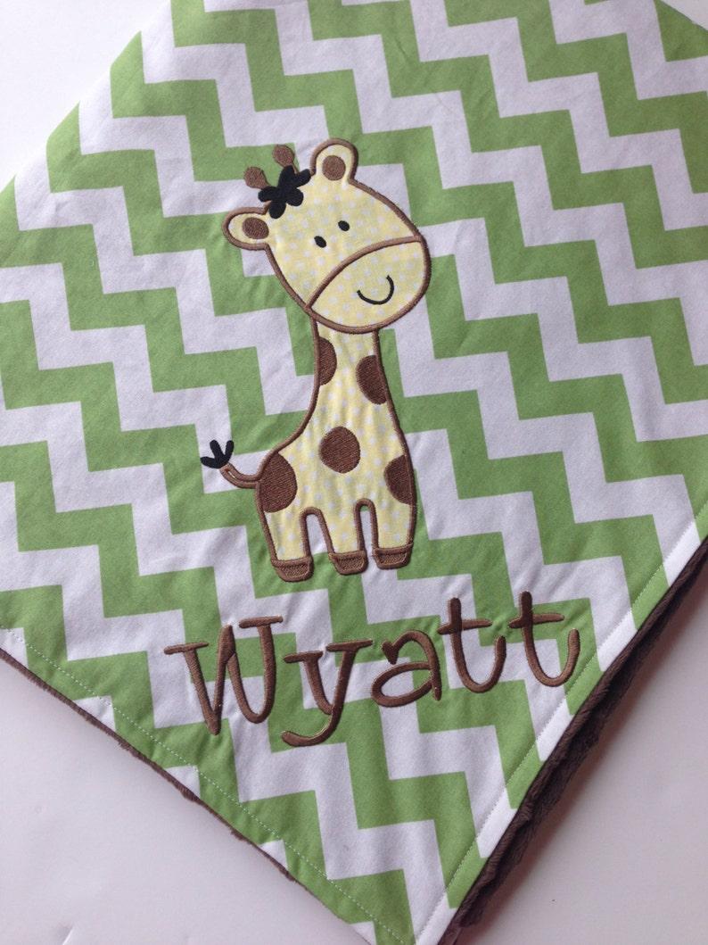 Giraffe Baby Blanket Applique Baby Blanket Custom Blanket- Chevron Minky Blanket Personalized Baby Blanket