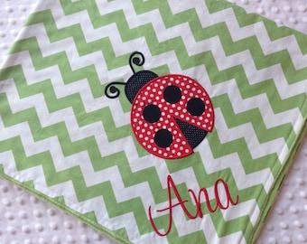 Personalized Baby Blanket 30x35- Chevron Minky Blanket-Ladybug Blanket- Chevron Baby Blanket- Custom Blanket-