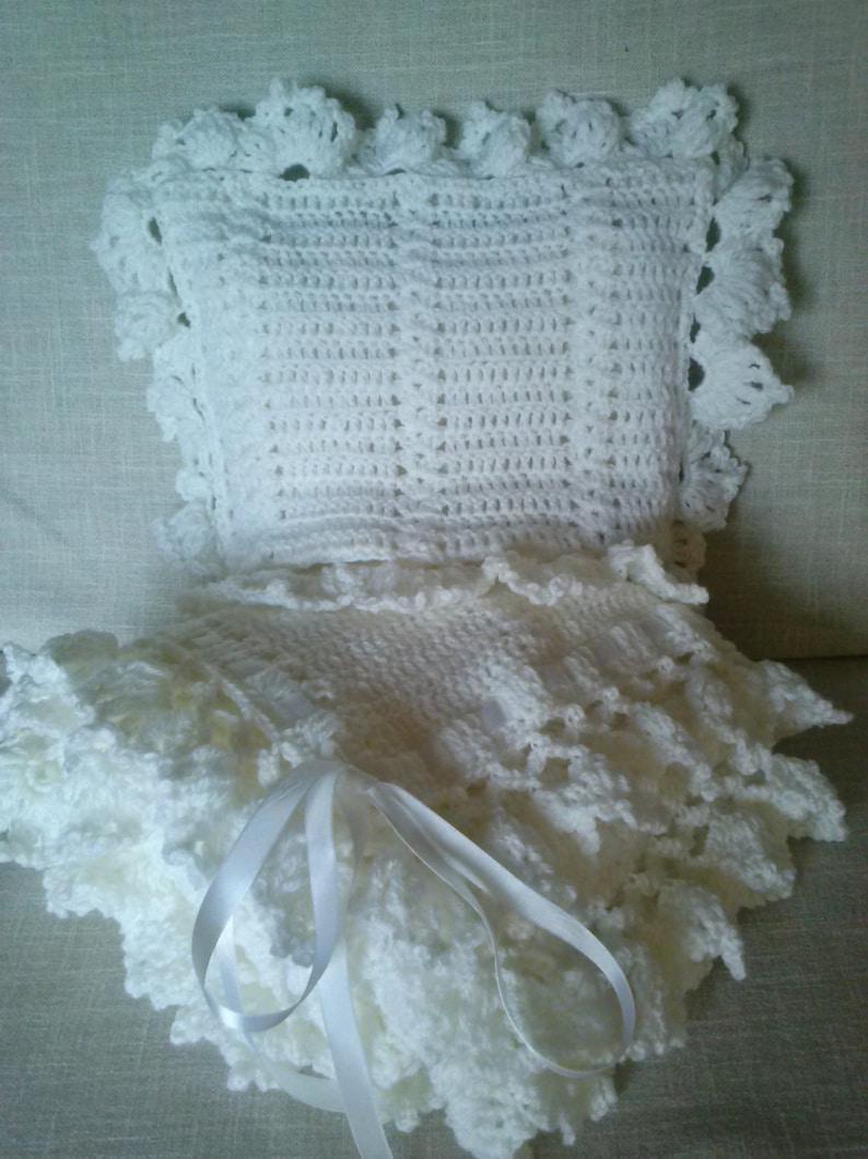 d9e3c77a4ffc White pillow   shawl set.White Granny Square Baby Blanket