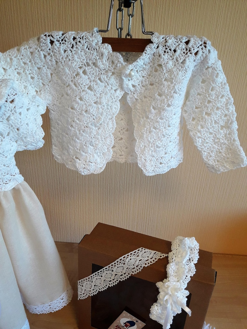 Blessing dress Linen dress Girls dress Flower girls dress Baptism dress Crocheted dresses Girl Take Home Outfit Girls Hospital Outfit