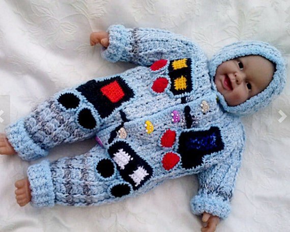 Babyoverall 6874 Häkeln Blauen Overalls Junge Baby Outfit Etsy