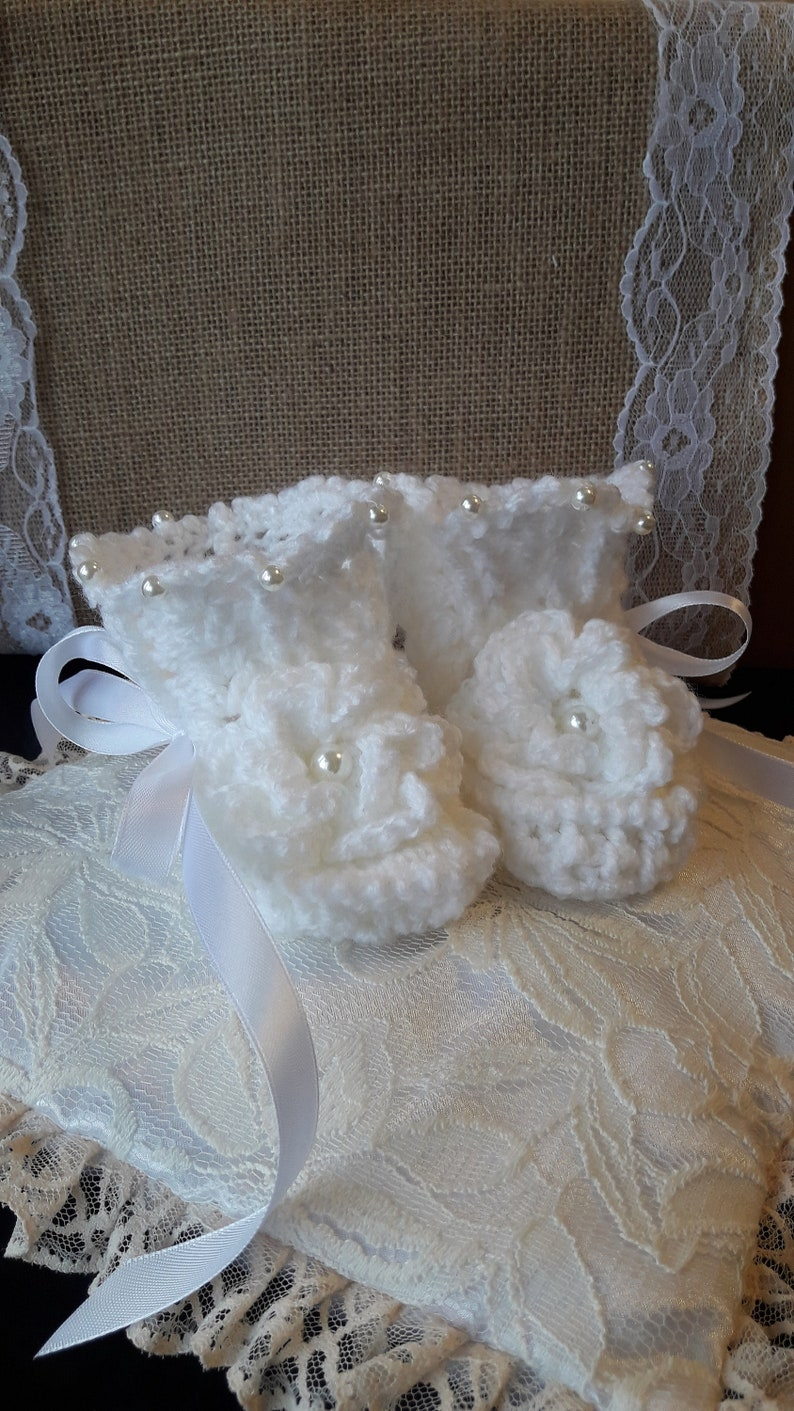 blessing. Crochet shoes Crochet Baptism Booties Christening baby booties Crocheted Booties Baby christening shoes Baptism booties