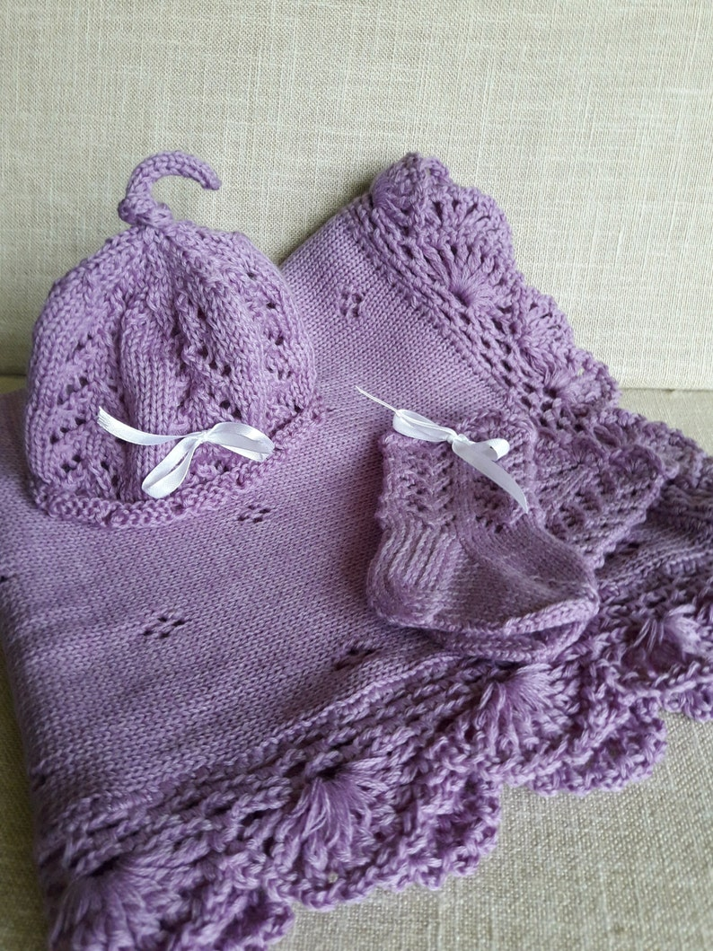 Take me home outfit Baby shower gift Newborn blanket Crochet blanket Purple  blanket Lace blanket Baby Blanket Knitted Baby Blanket