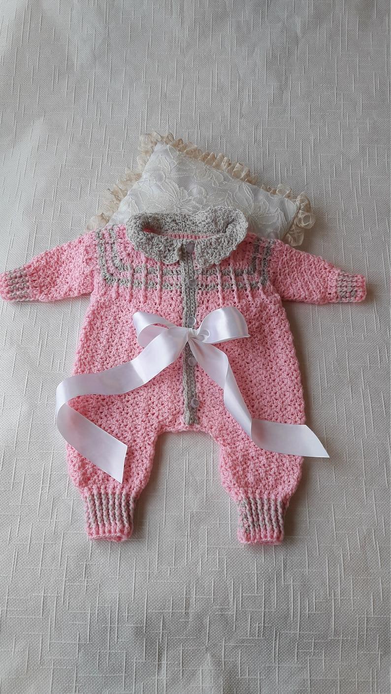 06f0e1e413ed Pink overalls Crochet overalls Baby romper Natural baby