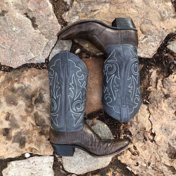 Leather Snakeskin Boots - Blue/Gray - Women's 8