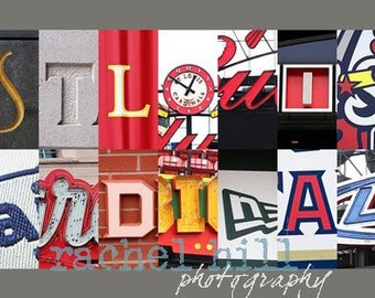 St. Louis Cardinals Letter Art 10x20 print mounted on board