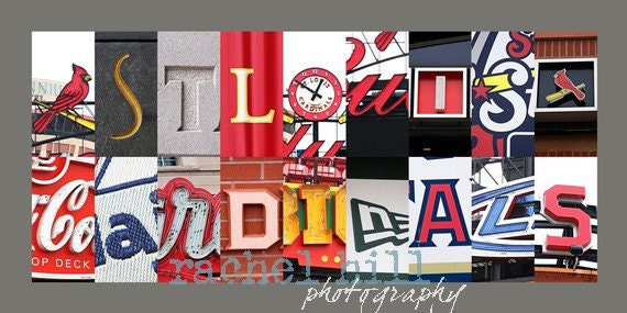 St Louis Cardinals Letter Art 10x20 Print Mounted On Board Etsy