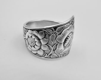 Spoon Ring-Sterling Silver-Antique Spoon  Ring-Authentic Spoon Ring-Silver Spoon Ring-Sunflower Spoon Ring Size 6.25