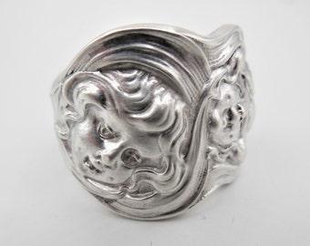 Unger Spoon Ring-Cupids Sunbeams-Spoon Ring-Authentic Spoon Ring-Antique Spoon Ring-Silver Spoon Ring-Sterling Spoon Ring  Size 7.75